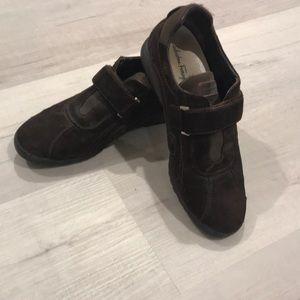 Salvatore Ferragamo women's brown suede sneaker